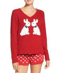 Betsey Johnson - Red Plush Sweater - Lyst