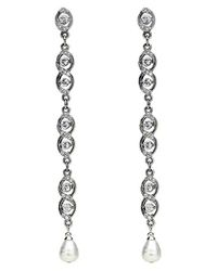 Ben-Amun | Multicolor Faux Pearl & Crystal Linear Drop Earrings | Lyst