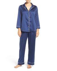 Oscar de la Renta | Blue Satin Pajamas | Lyst