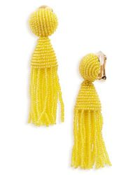 Oscar de la Renta - Green 'classic Short' Tassel Drop Earrings - Lyst