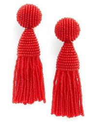 Oscar de la Renta | Red 'classic Short' Tassel Drop Earrings | Lyst