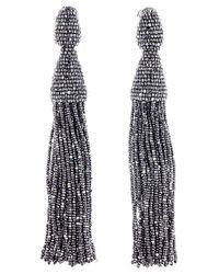 Oscar de la Renta | Multicolor Long Beaded Tassel Clip-on Earrings | Lyst