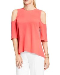 Vince Camuto | Pink Cold Shoulder High/low Top | Lyst