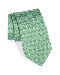 Ferragamo | Green Gancini Print Silk Tie for Men | Lyst