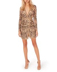Missguided - Natural Embellished Minidress - Lyst
