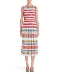 Missoni | Red Flame Stitch Knit Dress | Lyst