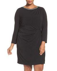 Ellen Tracy - Black Embellished Twist Front Jersey Dress - Lyst