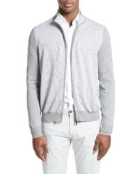 Canali - Gray Zip Sweater for Men - Lyst