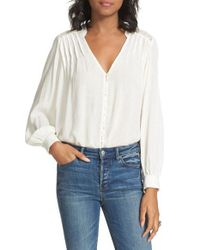 Free People | White Canyon Rose Embroidered Yoke Blouse | Lyst