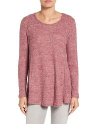 Bobeau - Red Boucle Knit A-line Top - Lyst