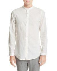 John Varvatos | White Extra Trim Fit Band Collar Linen Sport Shirt for Men | Lyst