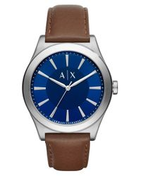 Armani Exchange | Metallic Leather Strap Watch | Lyst