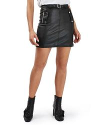 topshop belted faux leather moto skirt in black lyst