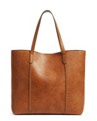 Phase 3 | Brown Faux Leather Tote | Lyst