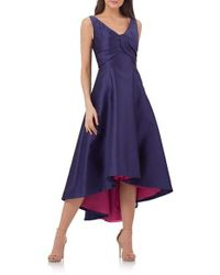 Carmen Marc Valvo | Purple Fit & Flare Midi Dress | Lyst