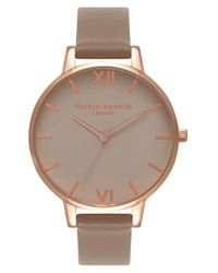 Olivia Burton | Brown Go For Griege Leather Strap Watch | Lyst