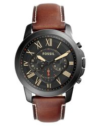 Fossil   Black Grant Leather Strap Watch for Men   Lyst