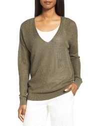 Nordstrom Collection | Green V-neck Linen Blend Sweater | Lyst