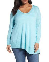 Sejour | Blue Asymmetrical Cotton Blend Sweater | Lyst