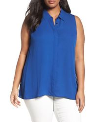 Sejour | Blue Sleeveless Tunic Blouse | Lyst