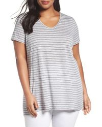 Sejour | Gray V-neck Stripe Tee | Lyst