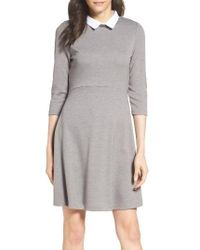 French Connection | Gray 'fast Fresh' Collared Jersey Fit & Flare Dress | Lyst