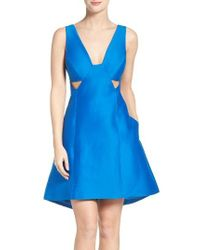 Halston Heritage | Blue Cotton & Silk Dress | Lyst
