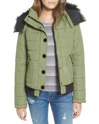 Maralyn & Me - Green Quilted Bomber Jacket With Removable Faux Fur Trim Hood - Lyst