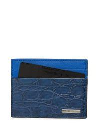 Ermenegildo Zegna | Blue Milano Leather Card Case for Men | Lyst