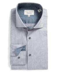 Ted Baker | Gray Scooter Trim Fit Texture Dress Shirt for Men | Lyst