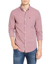 Original Penguin | Pink Mini Gingham Long Sleeved Shirt for Men | Lyst