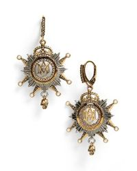 Alexander McQueen | Metallic Medallion Drop Earrings | Lyst