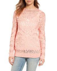 Hinge   Pink Drop Stitch Cotton Blend Sweater   Lyst