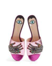 Gucci | Metallic Wangy Embellished Slide Sandal | Lyst