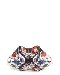 Alexander McQueen | Red Large De Manta Floral Print Leather Clutch | Lyst