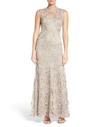 Tadashi Shoji | Multicolor Embroidered Tulle Gown | Lyst