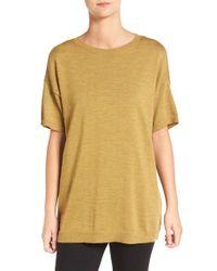 Eileen Fisher - Yellow Merino Wool Jersey Round Neck Tunic - Lyst