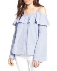 Trouvé | Blue Cold Shoulder Ruffle Blouse | Lyst