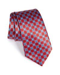 Ermenegildo Zegna | Red Geometric Silk Tie for Men | Lyst