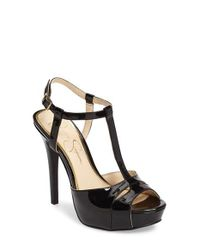 Jessica Simpson | Black Barretta T-strap Platform Sandal | Lyst