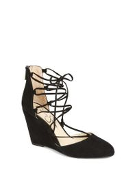 Jessica Simpson | Black Jacee Lace-up Wedge | Lyst