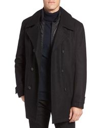 Marc New York | Black By Andrew Marc Cushing Wool Blend Peacoat With Detachable Bib for Men | Lyst