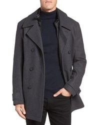 Marc New York   Gray By Andrew Marc Cushing Wool Blend Peacoat With Detachable Bib for Men   Lyst