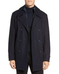 Marc New York | Blue By Andrew Marc Cushing Wool Blend Peacoat With Detachable Bib for Men | Lyst