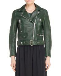 Acne   Green Mock Leather Moto Jacket   Lyst