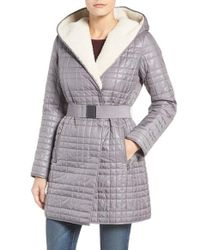 Kenneth Cole | Gray Faux Shearling Lined Puffer Coat | Lyst