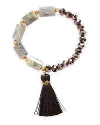 Panacea - Gray Crystal & Tassel Stretch Bracelet - Lyst
