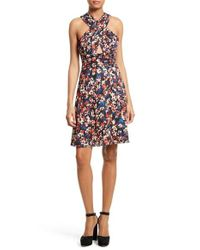 Tracy Reese | Multicolor Floral Print Stretch Silk Halter Dress | Lyst