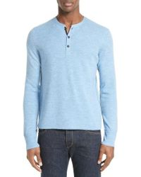 Rag & Bone - Blue Gregory Wool Blend Henley Sweater for Men - Lyst