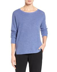 Eileen Fisher | Blue Fine Merino Wool Boxy Sweater | Lyst